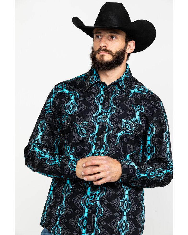 Rock & Roll Denim Men's Teal Vertical Aztec Print Long Sleeve Western Shirt , Teal, hi-res