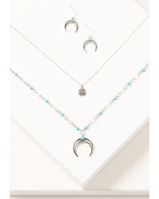Shyanne Women's Silver 2-piece Turquoise Beaded & Layered Crescent Jewelry Set, Silver, hi-res
