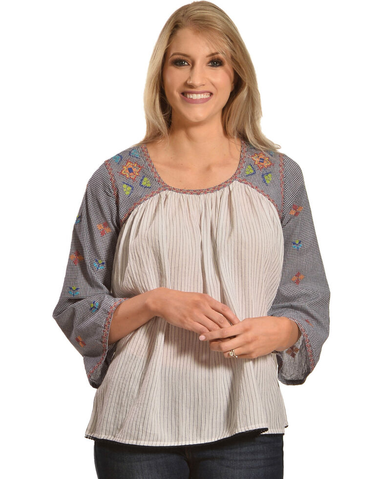 New Direction Sport Women's Embroidered Flare Sleeve Top, Multi, hi-res
