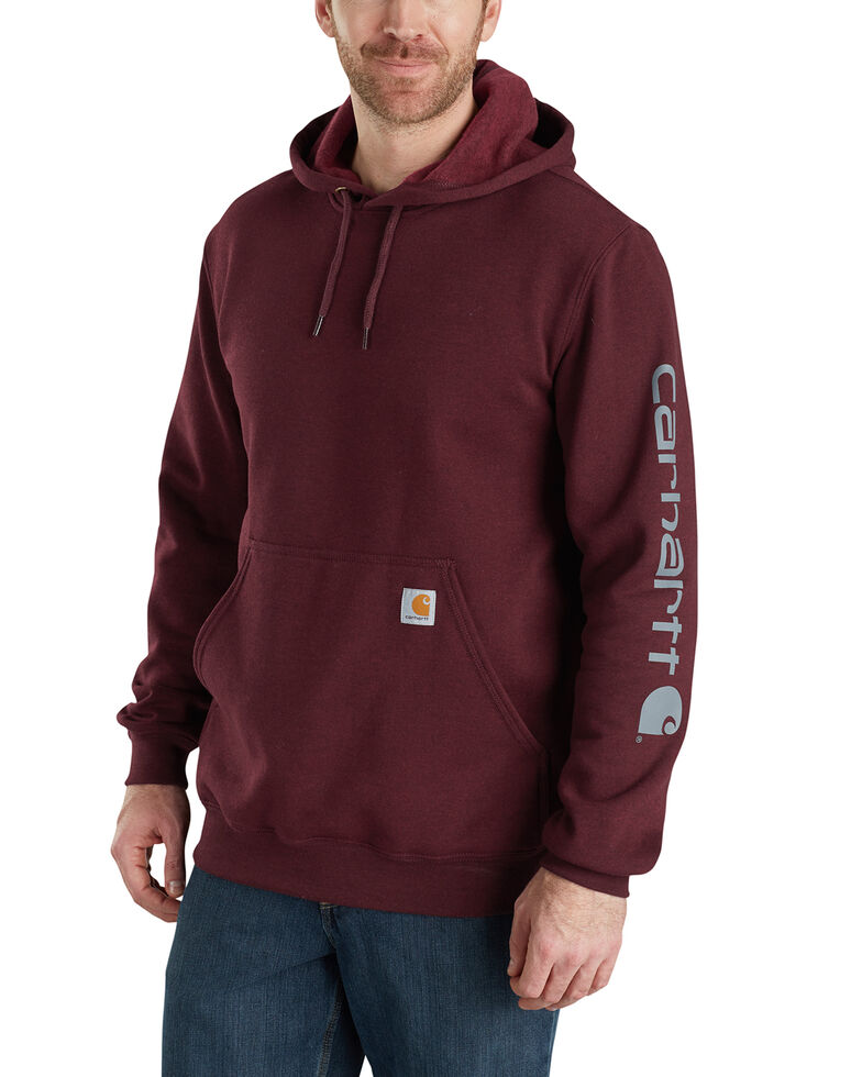 Carhartt Logo Hooded Sweatshirt, Burgundy, hi-res