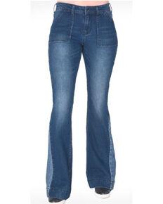Cowgirl Tuff Women's Dark Wash Contrast Flare Jeans , Blue, hi-res