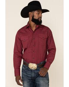 Ely Cattleman Men's Assorted Circle Geo Print Long Sleeve Snap Western Shirt , Burgundy, hi-res