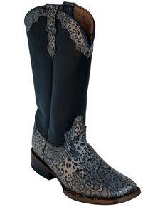 Ferrini Women's Silver Cheetah Western Boots - Square Toe, Silver, hi-res