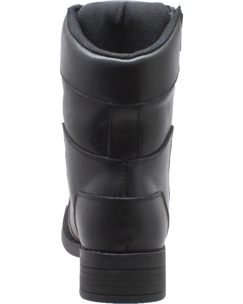 """Ad Tec Women's 8"""" Black Leather Zipper Biker Boots , , hi-res"""