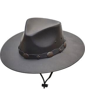 Western Express Men's Black Leather Hat , Black, hi-res