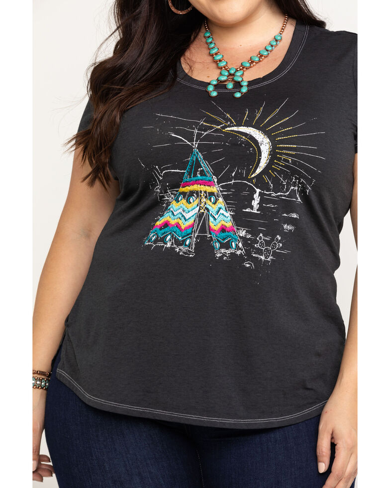 White Label by Panhandle Women's Teepee Graphic Tee - Plus , Black, hi-res