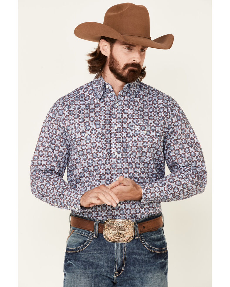 George Strait By Wrangler Men's Medallion Geo Print Long Sleeve Snap Western Shirt , Blue, hi-res