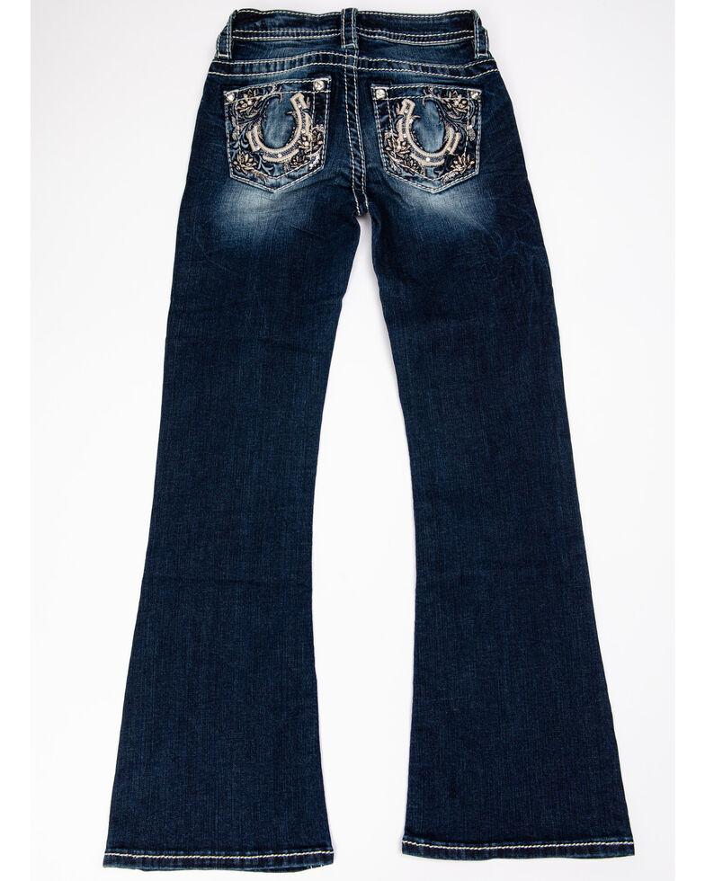 Miss Me Girls' Horseshoe Bootcut Jeans, Blue, hi-res