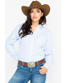 George Strait by Wrangler Women's Core Long Sleeve Western Shirt , Blue, hi-res