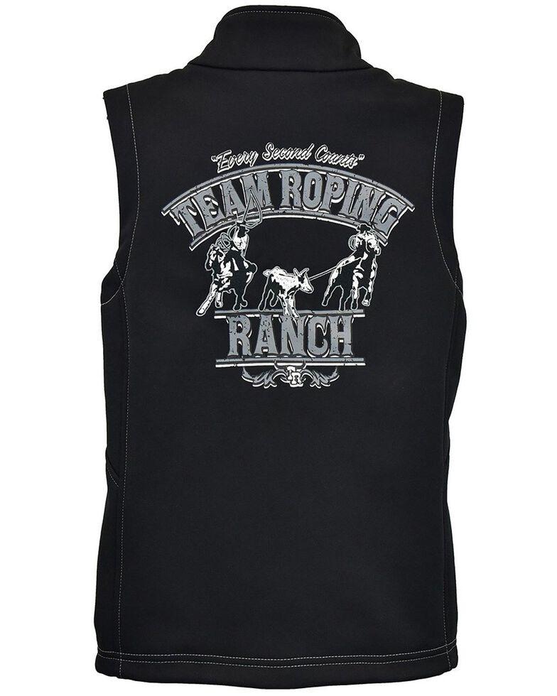 Cowboy Hardware Toddler Boys' Black Team Roping Ranch Softshell Zip Front Vest , Black, hi-res