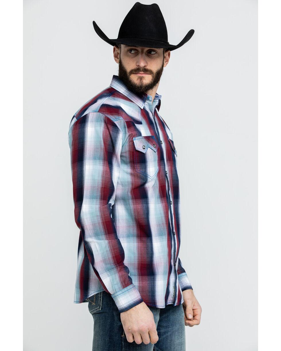 Moonshine Spirit Men's Light It Up Plaid Long Sleeve Western Shirt , Burgundy, hi-res