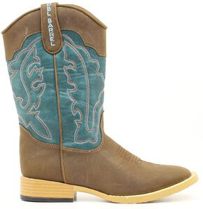 Double Barrel Boys' Open Range Side Zipper Cowboy Boots - Square Toe, Brown, hi-res