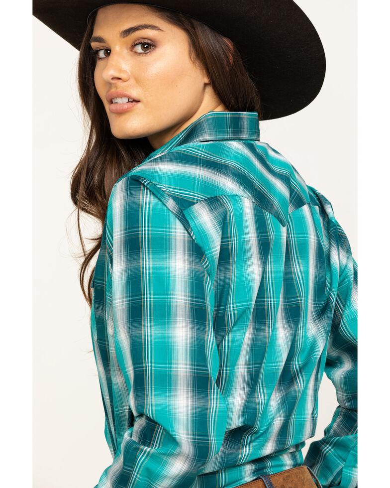 As Real As Wrangler Women's Green Snap Long Sleeve Western Shirt , Green, hi-res