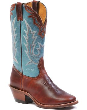 Boulet Fancy Collar Overlay Ranch Hand Cowgirl Boots - Square Toe, Brown, hi-res