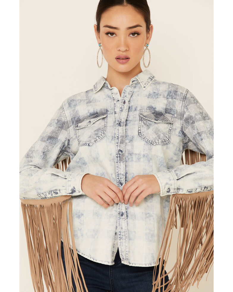 Driftwood Women's Vintage Blue Plaid Fringe Long Sleeve Button-Down Western Shirt , Blue, hi-res
