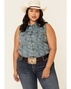 Roper Women's Sweet Water Mosaic Paisley Print Sleeveless Snap Western Shirt - Plus , Turquoise, hi-res
