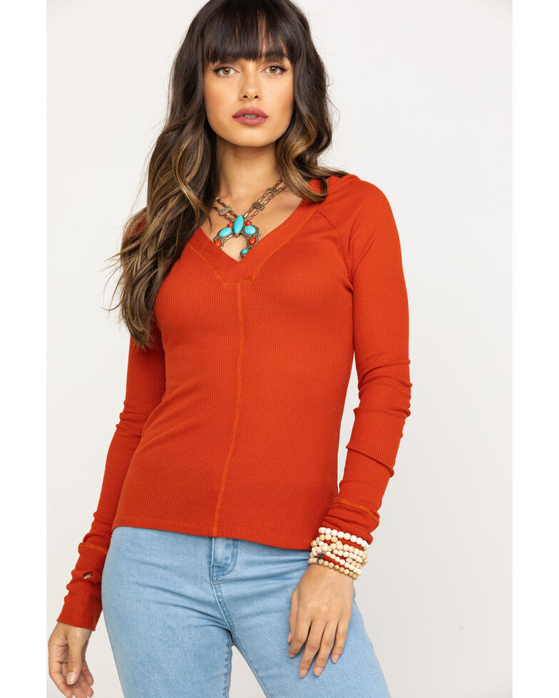 Red Label by Panhandle Women's Rust Waffle Knit Top, Rust Copper, hi-res