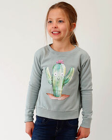 Roper Girls' Sage Cactus Graphic Sweatshirt , Sage, hi-res