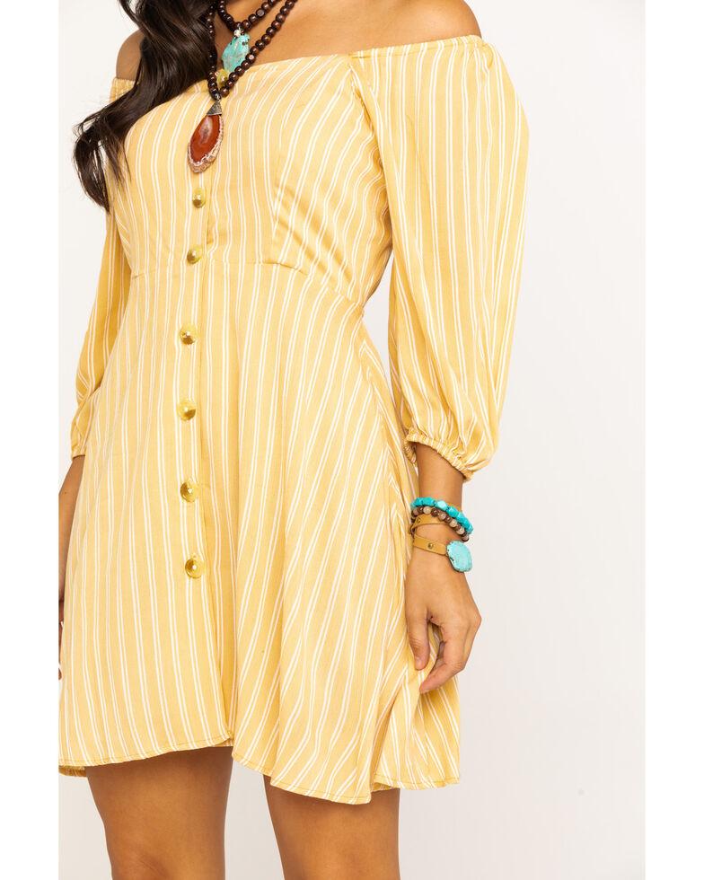 Angie Women's Yellow Stripe Button Down Dress , Dark Yellow, hi-res