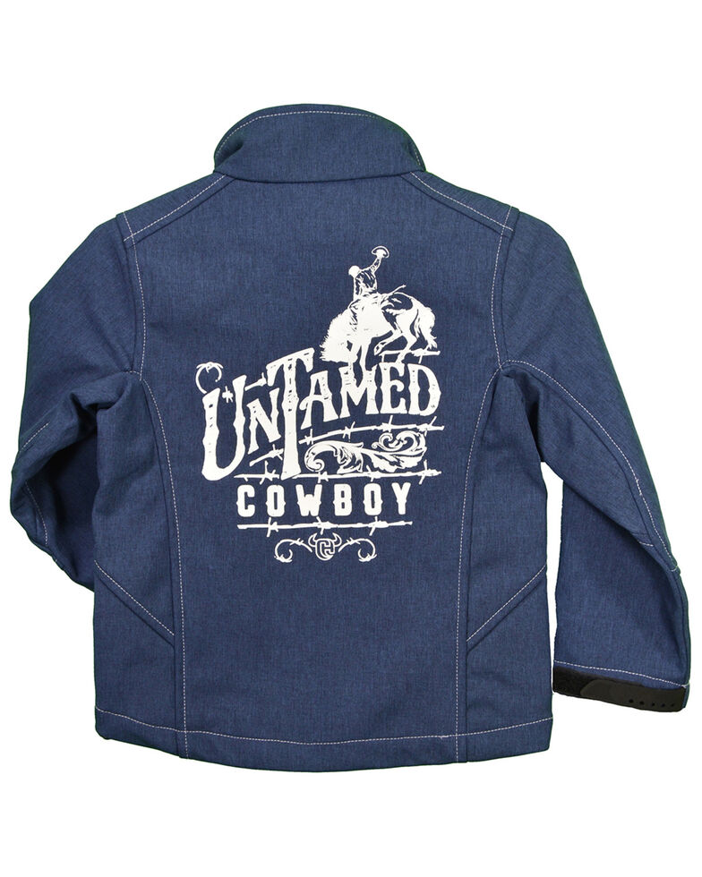 Cowboy Hardware Boys' Untamed Cowboy Zip-Front Softshell Jacket , Blue, hi-res