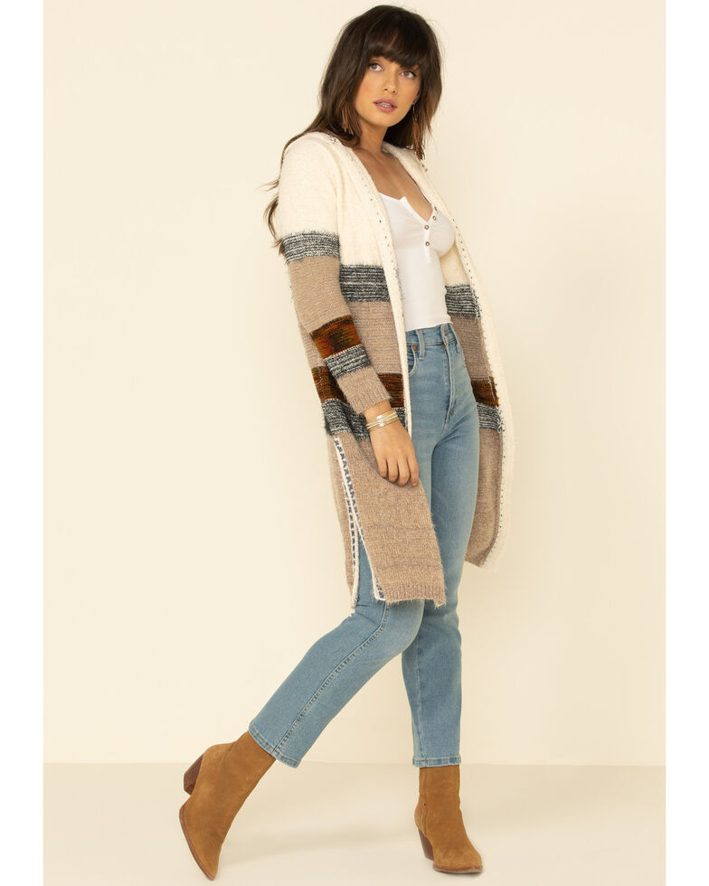 Nostalgia Women's Ivory Colorblock Striped Fuzzy Open Front Hooded Cardigan, Ivory, hi-res