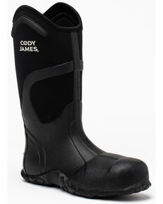 Cody James Men's Rubber Work Boots - Soft Toe, Black, hi-res