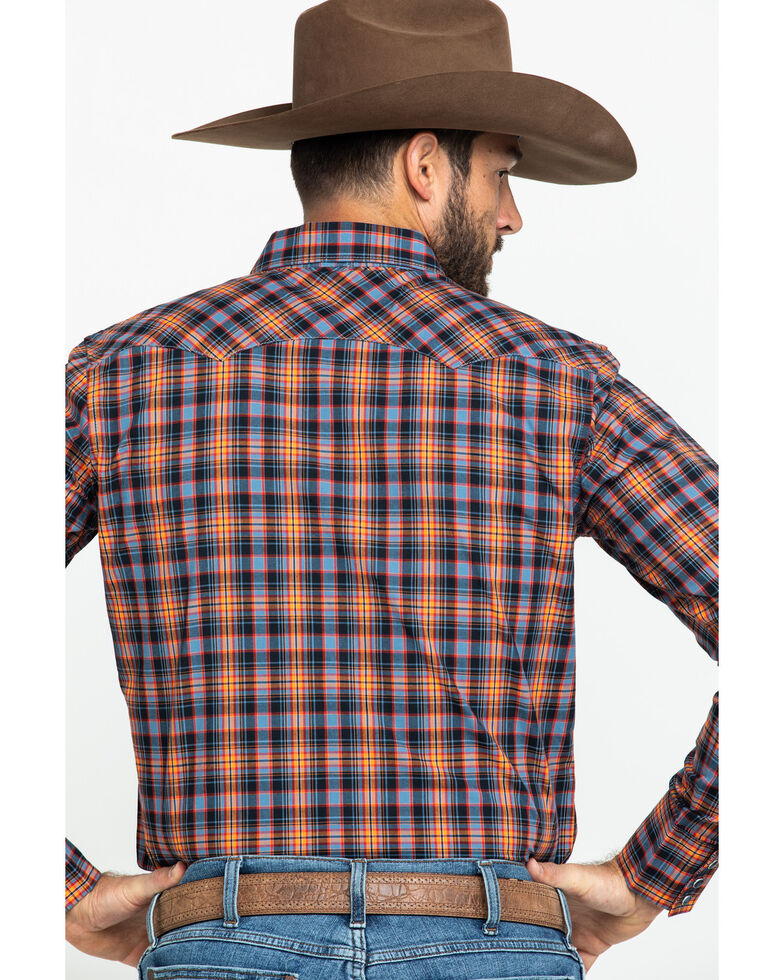 Wrangler Retro Men's Orange Small Plaid Long Sleeve Western Shirt , Orange, hi-res