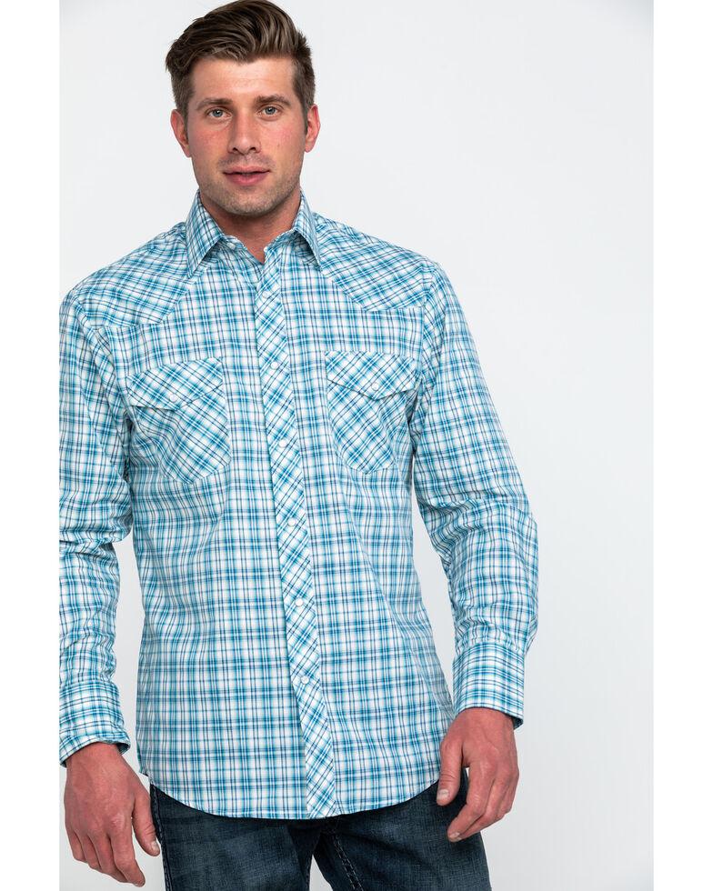 Roper Men's Small Classic Plaid Long Sleeve Western Shirt , Blue, hi-res