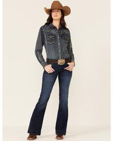 Wrangler Retro Women's Quinn Mae Trouser Jeans, Dark Blue, hi-res