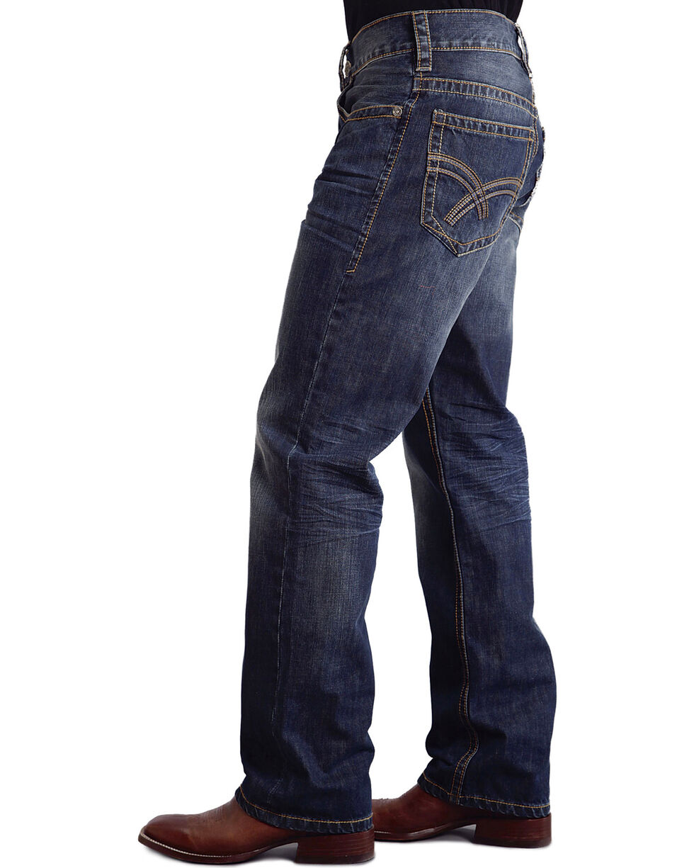 "Stetson Modern Fit Curved ""X"" Stitched Jeans - Big & Tall, Med Wash, hi-res"