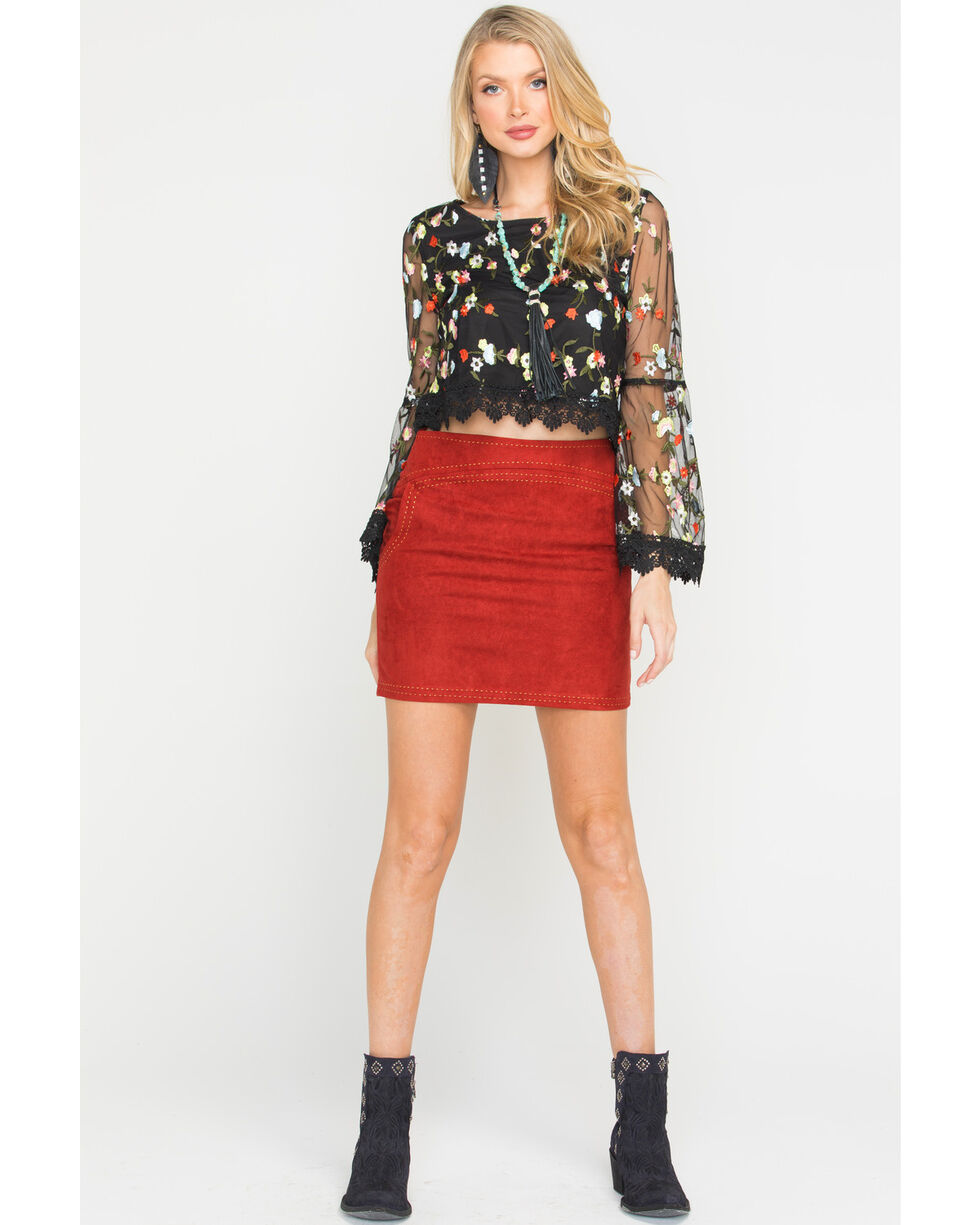 Freeway Apparel Women's Mini Skirt with Topstitching, Red, hi-res