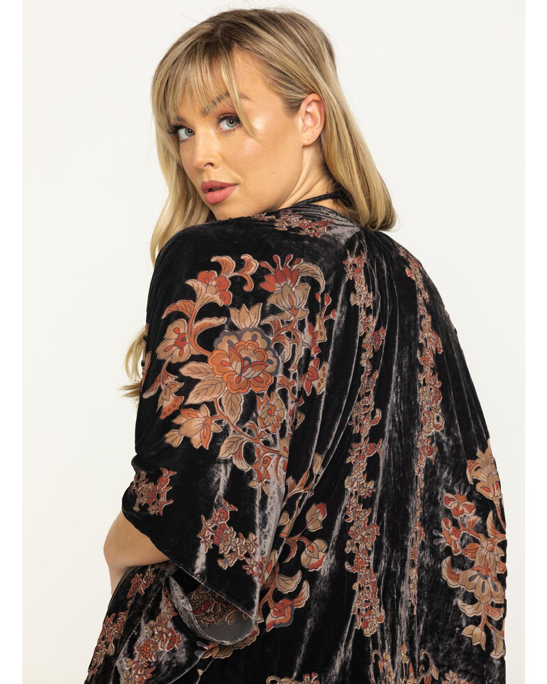Angie Women's Charcoal Floral Velvet Burnout Kimono, Charcoal, hi-res