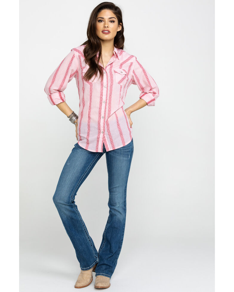 Wrangler Women's Mauv Washed Stripe Core Western Long Sleeve Shirt, Mauve, hi-res