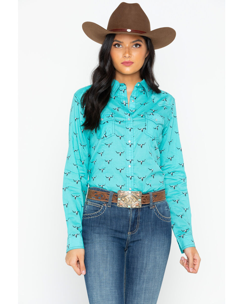 Wrangler Women's All Over Steer Head Print Long Sleeve Western Shirt, Aqua, hi-res