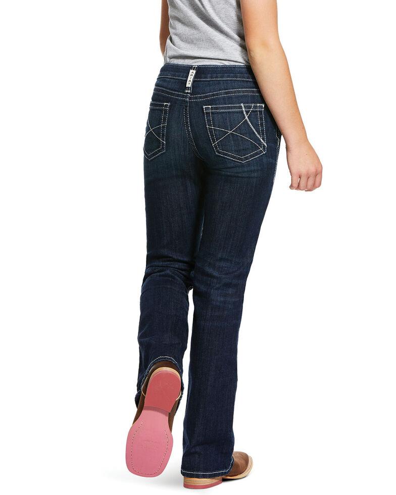 Ariat Girls' Dark Wash R.E.A.L Naomi Bootcut Jeans, Blue, hi-res