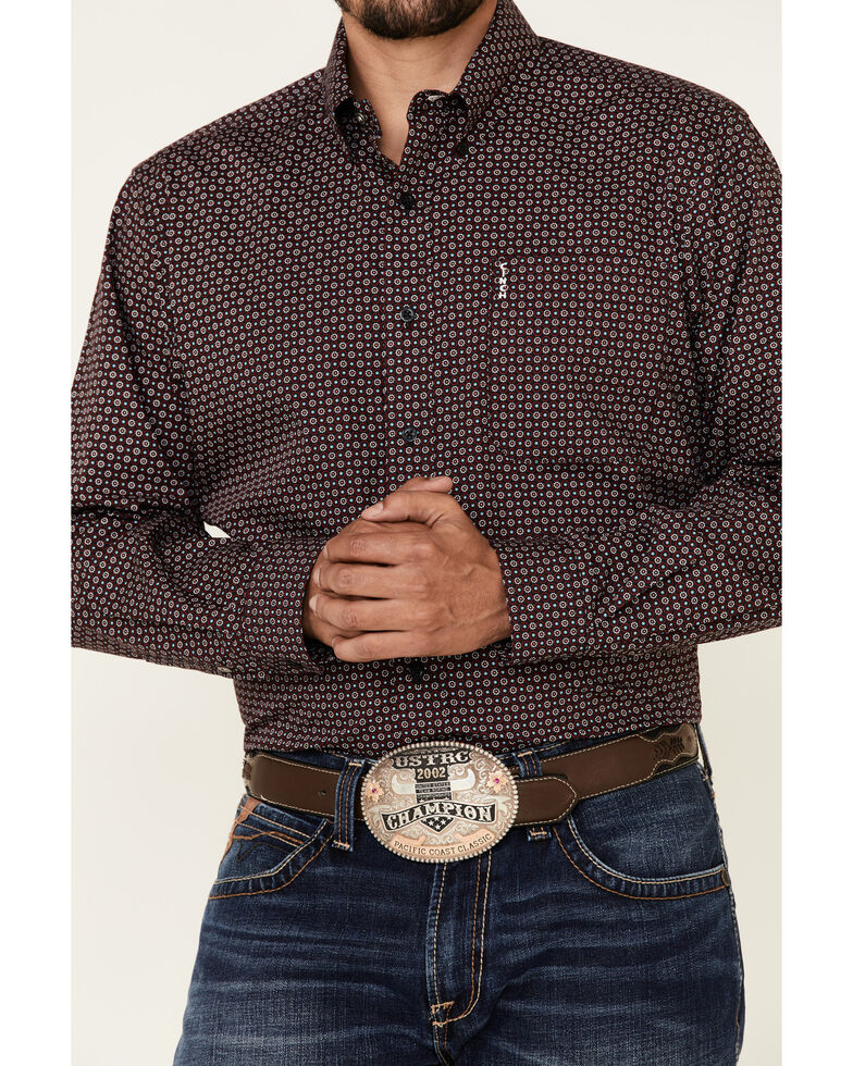 Cinch Men's Modern Fit Black Small Geo Print Long Sleeve Western Shirt , Black, hi-res