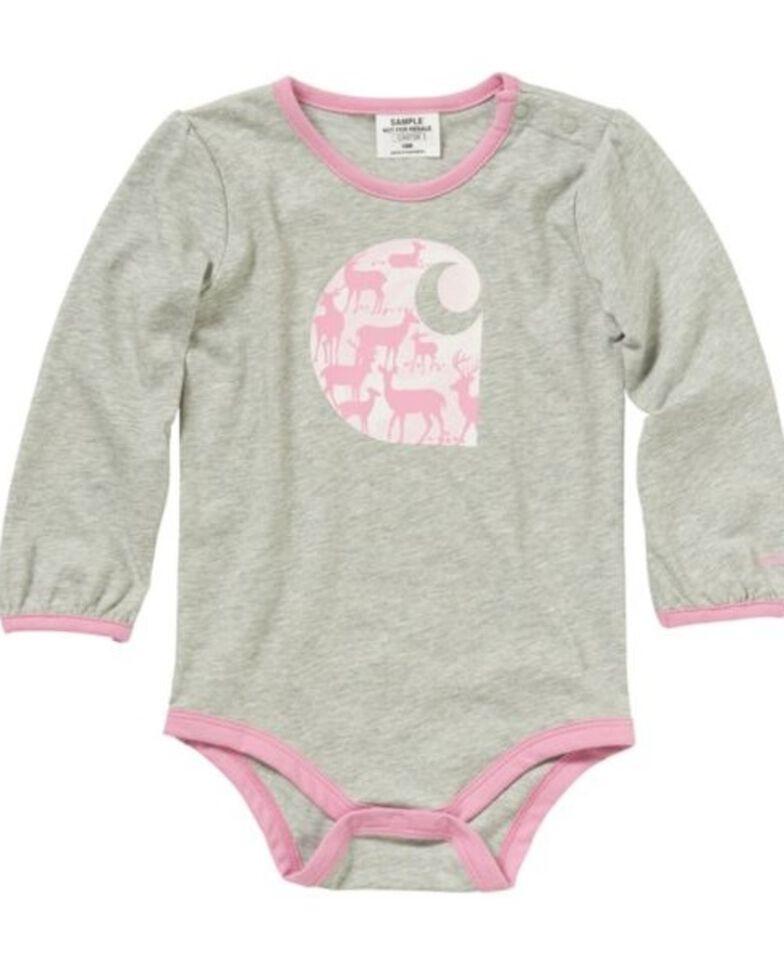 Carhartt Infant Girls' Deer Onesie, Heather Grey, hi-res