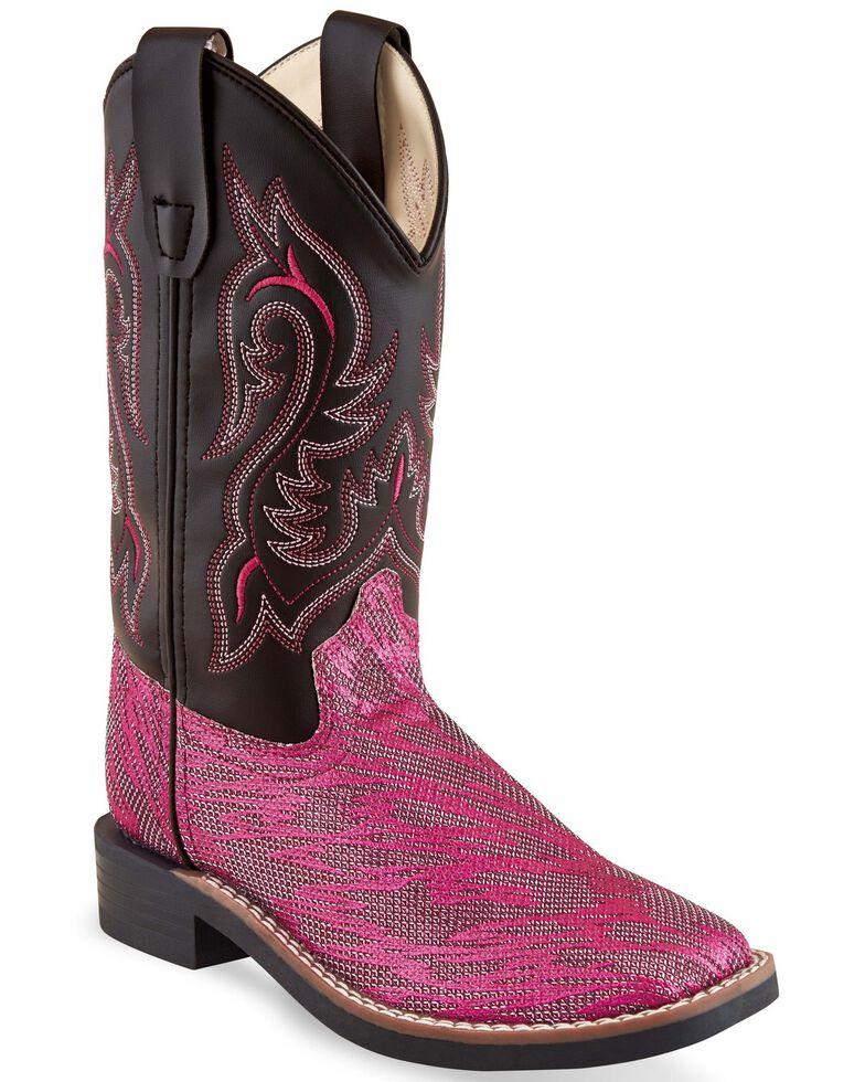 Old West Girls' Hot Pink Western Boots - Square Toe, Pink/black, hi-res