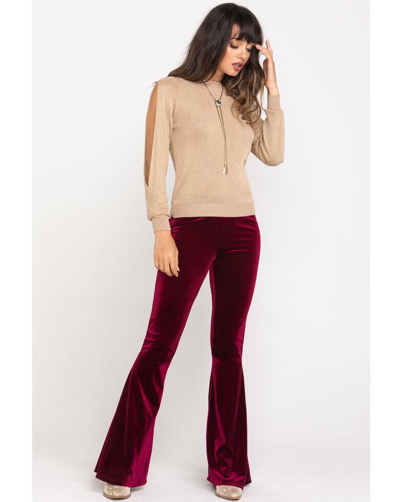 Molly Bracken Women's Gold Slit Sleeve Sweater, Gold, hi-res