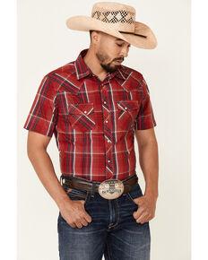 Wrangler Men's Red Large Plaid Short Sleeve Fashion Snap Western Shirt , Red, hi-res