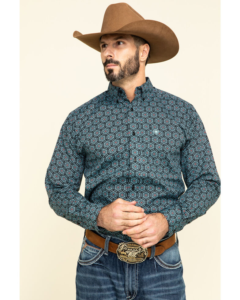 Ariat Men's Iradell Fitted Stretch Geo Print Long Sleeve Western Shirt , Black, hi-res