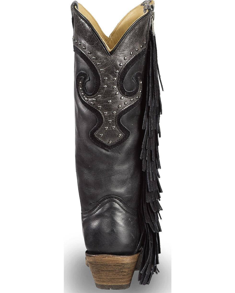 Corral Women's Black Studded Fringe Cowgirl Boots - Snip Toe , Black, hi-res