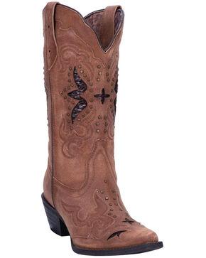 Laredo Women's Lucretia Inlay Western Boots - Snip Toe, Tan, hi-res