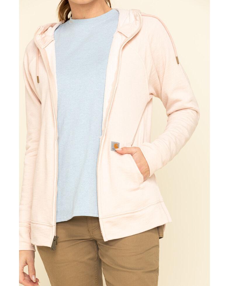 Carhartt Women's Heather Rose Full Zip Hoodie Sweatshirt , Rose, hi-res