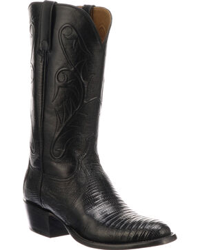 Lucchese Men's Handmade Benton Black Lizard Cowboy Boots - Medium Toe , Black, hi-res