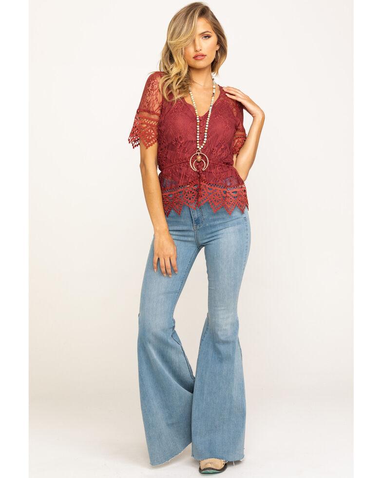 Shyanne Women's Lace Button Peplum Blouse, Rust Copper, hi-res