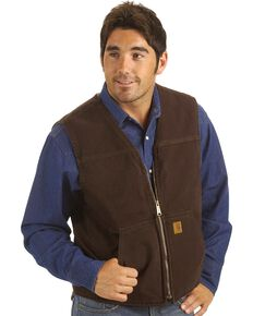 Carhartt Sandstone Duck Work Vest, Dark Brown, hi-res