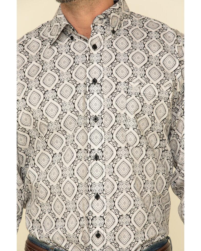 Panhandle Select Men's Black Medallion Geo Print Long Sleeve Western Shirt , Black, hi-res