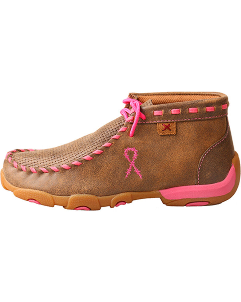 Twisted X Youth Girls' Brown Breast Cancer Moccasin Boots - Moc Toe , Brown, hi-res