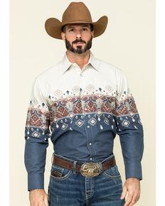Panhandle Men's Scenic Aztec Border Print Long Sleeve Western Shirt , Blue, hi-res